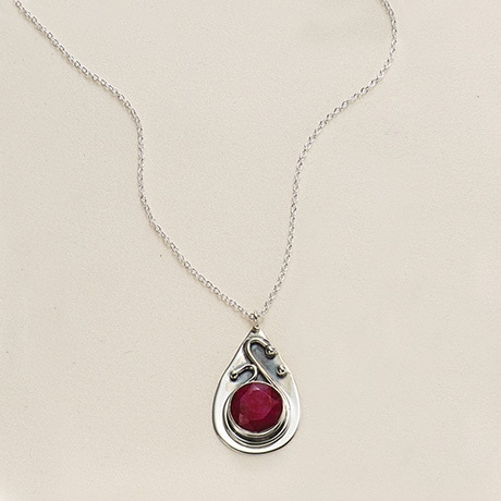 Ruby & Sapphire Swirl Necklace