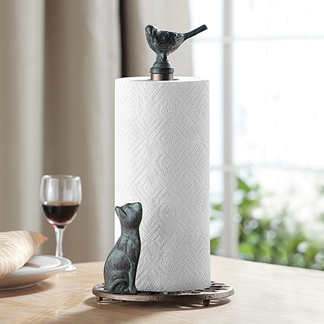 Cat and Bird Paper Towel Holder