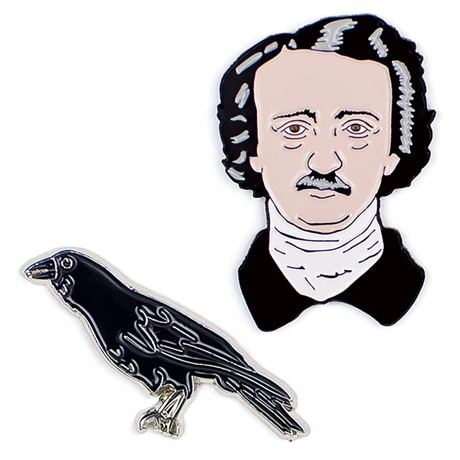 Edgar Allan Poe Enamel Pins - set of 2