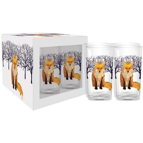 Winter Fox Drinking Glasses (Set of 4)