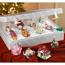 Merck Family's Old World Christmas Bride's Tree Glass Ornaments - Set of 12