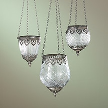 Product Image for Pressed Glass Hanging Tea Light Holders