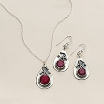 Alternate Image 2 for Ruby & Sapphire Swirl Necklace