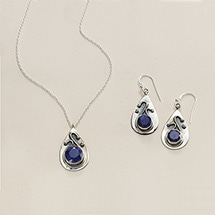 Alternate Image 3 for Ruby & Sapphire Swirl Necklace