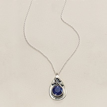Alternate Image 1 for Ruby & Sapphire Swirl Necklace