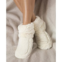 Alternate Image 2 for Therapeutic Plush Boot Slippers (Cream)