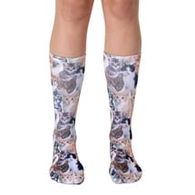 Alternate Image 1 for Kitty All Over Unisex Crew Socks