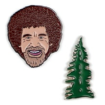 Product Image for Bob Ross Enamel Pins - set of 2