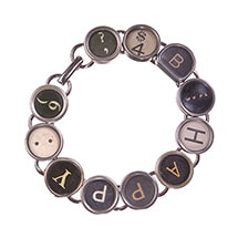 Alternate Image 1 for Vintage Typewriter Key Bracelet