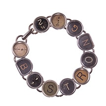 Alternate Image 2 for Vintage Typewriter Key Bracelet